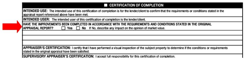 1004d appraisal update vs completion certification final for What do appraisers look for